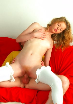 Tender redhaired in white stockings riding a dick unto an open mouth facial