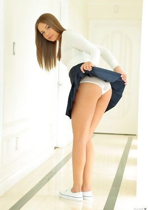 Ultimate juvenile Liza Rowe posing in petty skirt takes it off with her hotpants