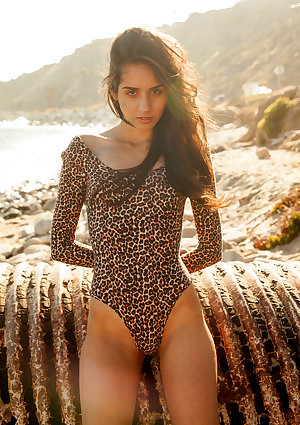 A leopard print leotard looks stunning on skinny Latina girl Inez Saldero