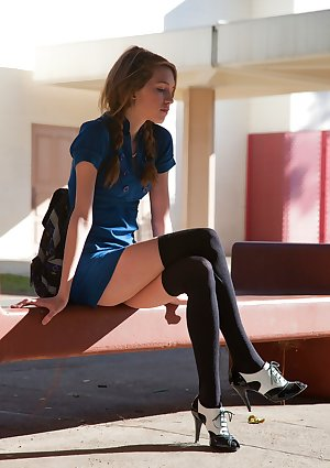 Innocent teen girl Samantha Kaylee flashes her panties outside high school