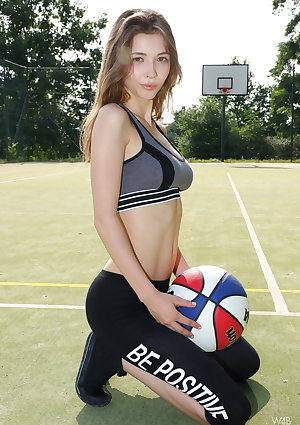 Fit tender Milla lay open her ultimate firm breasts and playing with her ball without clothes