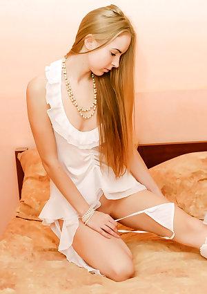 Hot teen girl in white lingerie