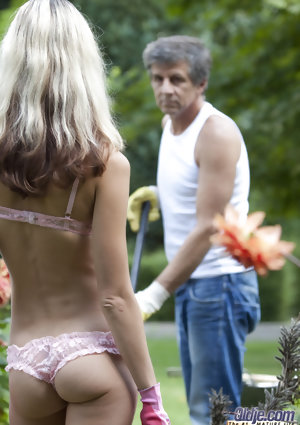 Spindly blondhaired girlie Gina Gerson seduces the way older gardener