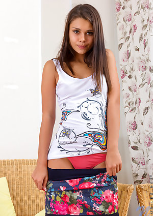 Young brunette Stalfra earns her college tuition by modeling in the nude
