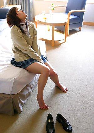 Japanese juvenile Hina Tachibana sinks her lingerie attired figure in bath