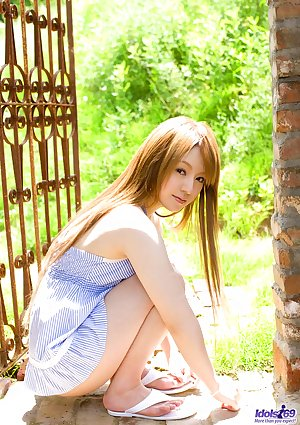 Beautiful Japanese model Ria Sakurai removes undies and meet thru shorts