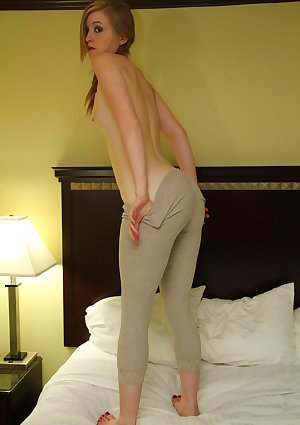 Pigtailed blondy Mandy undress off her tight yoga pants and gets impudent
