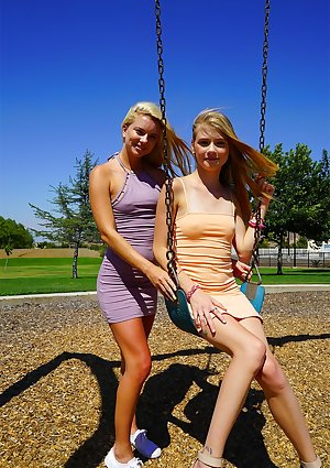 Young blondes Riley Star & Hannah Hays model sweet teen curves in tight dress