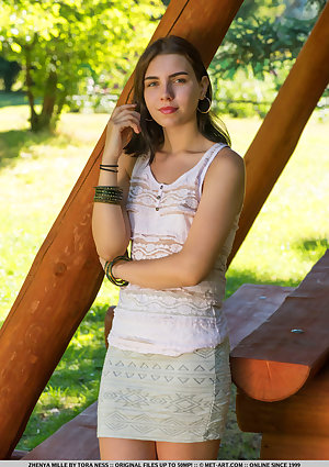 Zhenya Mille undressed in hottie PICNIC TABLE gallery