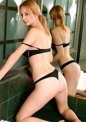 Misty dares to go topless in her bathroom