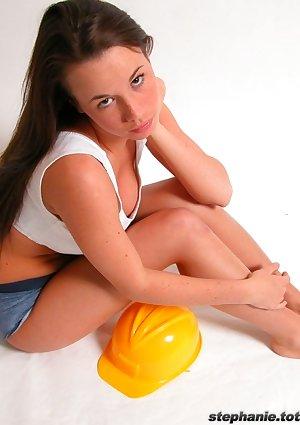 Stephanie in construction uniform