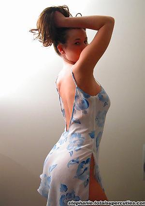 Nonnude brunette teen in nightdress