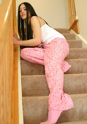 Asian alice posing on the stairway
