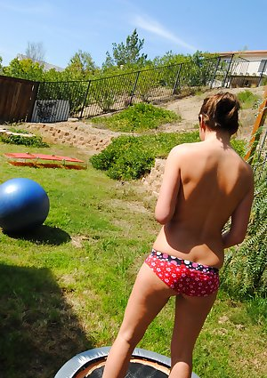 Bouncing topless outdoors with abby