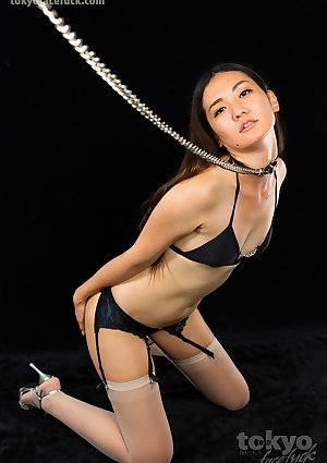 Good whore in a collar and leash opens wide and gives a messy deepthroat blowjob to a big cock