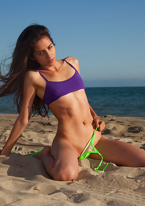 A leopard print leotard looks stunning on skinny Latina girl Inez Saldero