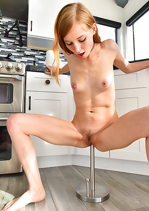 Ginger babe with small breasts Eva fucks a huge stick at home  AMATEURE Dildo behaarte Muschi Masturbation Höschen Jung pussy fuck babe redhead skinny lingerie small ass