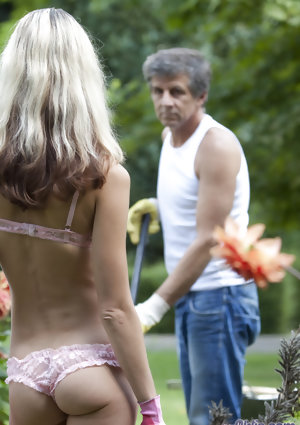 Petite blonde girl Gina Gerson seduces the way older gardener